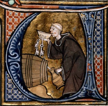 Illustration of a Monk wine taster (13th century). Illumination from a copy of Li livres dou santé by Aldobrandino of Siena. British Library manuscript Sloane 2435, f. 44v.
