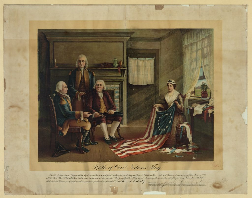 Painting titled 'Birth of our Nations Flag' by C.H. Weisgerber.