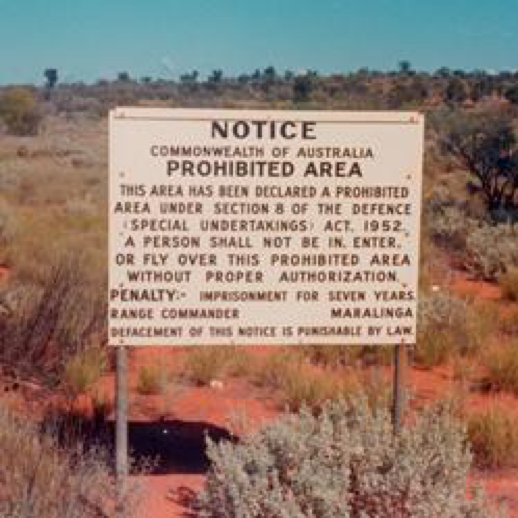 Maralinga, prohibited area sign on the Emu/Nawa Road.