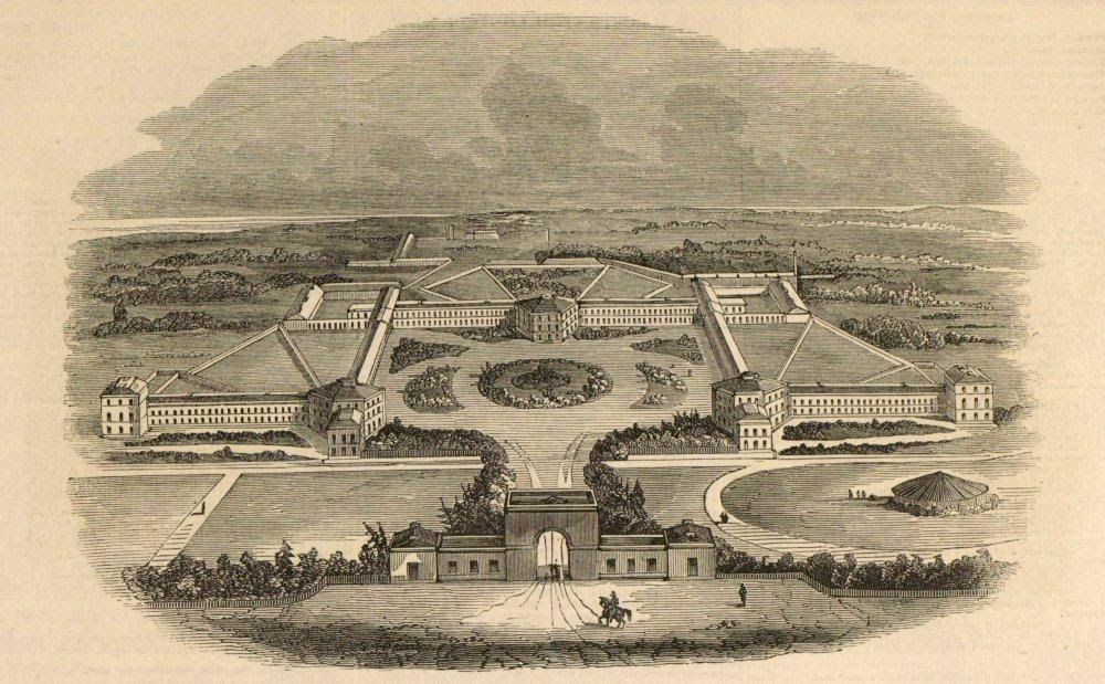 Print of Middlesex County Asylum and grounds at Hanwell, 1843