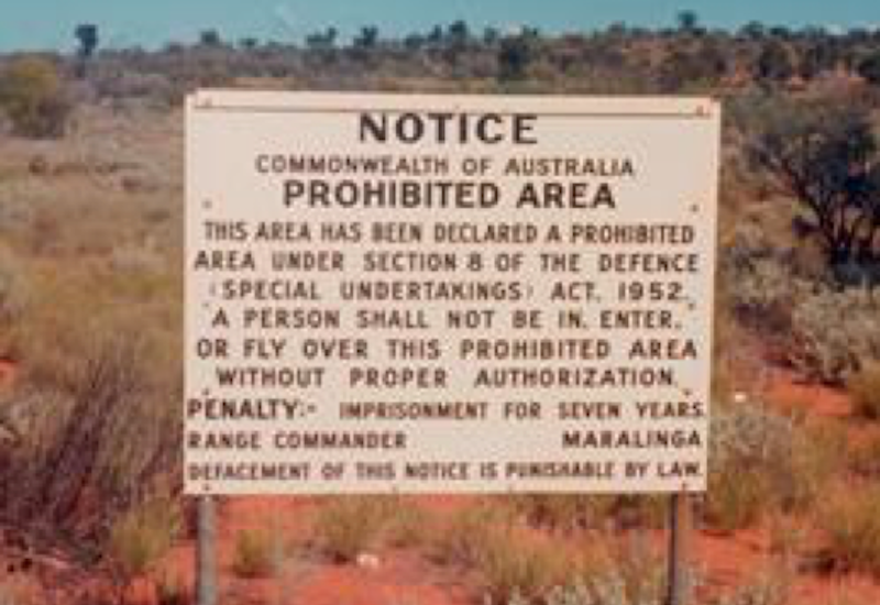 Maralinga, prohibited area sign on the Emu/Nawa Road